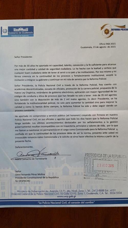 Esta es la carta de renuncia de Adela Camacho de Torrebiarte.