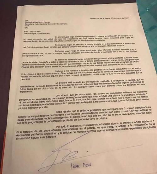 Esta es la carta que envió el delantero a la FIFA. (Foto: Olé)