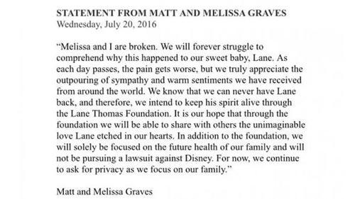 Esta es la carta publicada por la familia Graves. (Foto: Infobae)