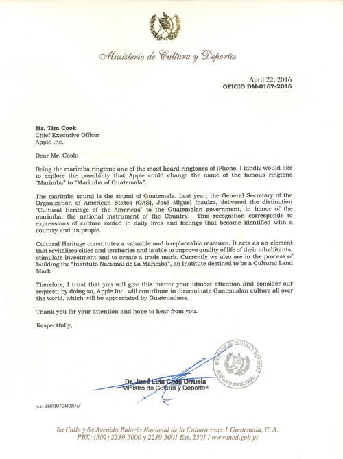 """En la carta el ministro le explica al CEO de Apple por qué debería cambiarle el nombre al ringtone """"marimba"""". (Foto: Ministerio de Cultura y Deportes)"""