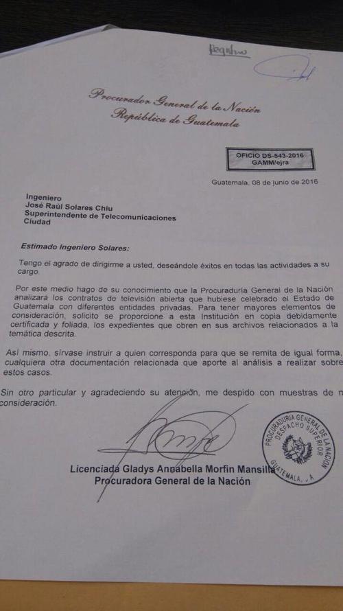 Carta de la PGN donde se requieren los contratos de la televisión abierta a la SIB.
