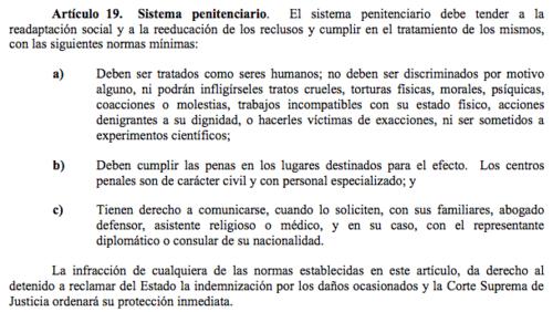 Este es el artículo de la Constitución Política de la República referente a los derechos de los privados de libertad. (Foto: captura de pantalla/Constitución Política de la República)