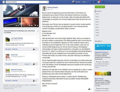 Carlos Catania, candidato a diputado por el partido Lider, publicó los datos de la encuesta un día antes. (Foto: Facebook)
