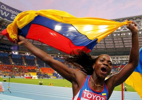 La colombiana Caterine Ibargüen, saltadora de triple, también fue nominada a la atleta del año de la IAFF. (AFP).