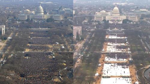 Esta es la comparación entre la toma de posesión de Barack Obama en 2009 y  Donald Trump en 2017. (Foto: www.univisión.com)