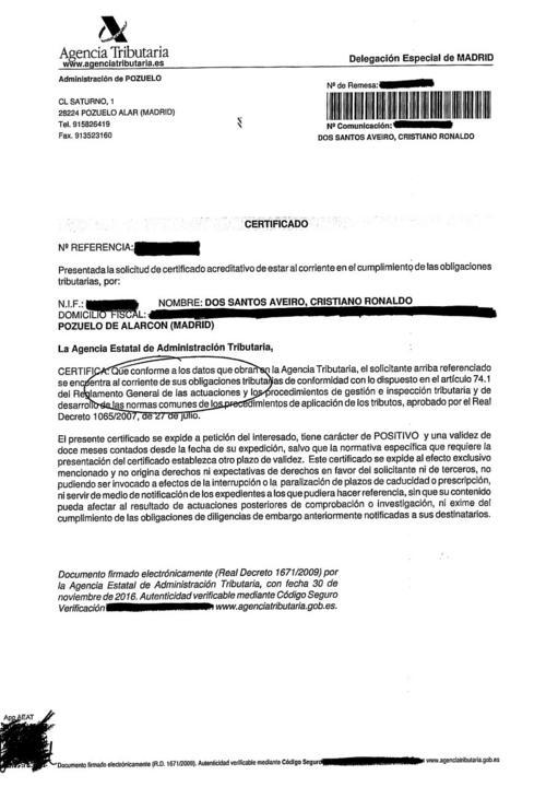 Certificación de la Agencia Fiscal sobre el caso de Cristiano Ronaldo por presunto fraude. (Imagen: Marca)