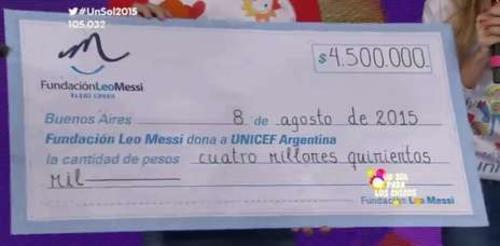 En pesos argentinos, el donativo de Messi.