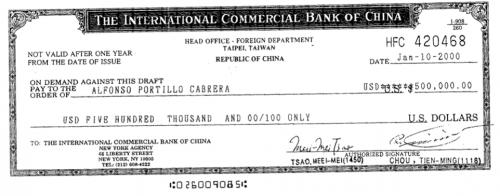 Este es el primer cheque recibido y cobrado por Alfonso Portillo, como soborno para mantener relaciones diplomáticas con Taiwán. (Foto:Soy502)