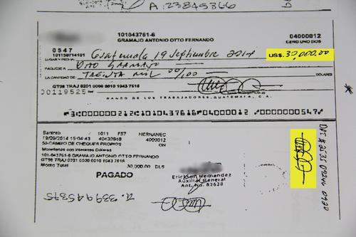 Otto Gramajo giró y cobró cheques por más de 12 millones de quetzales.