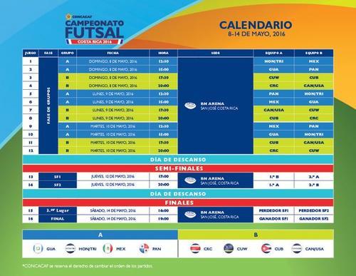 El calendario completo del premundial en Costa Rica.