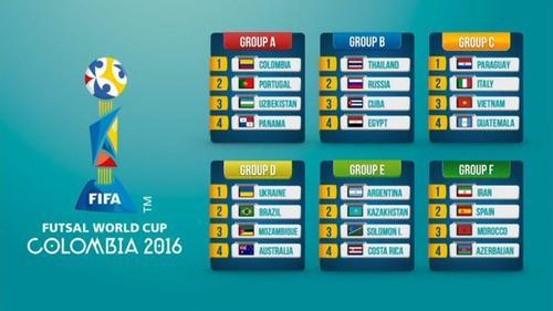 Así quedaron los seis grupos para el Mundial de Futsal Colombia 2016. (Foto: Fifa)