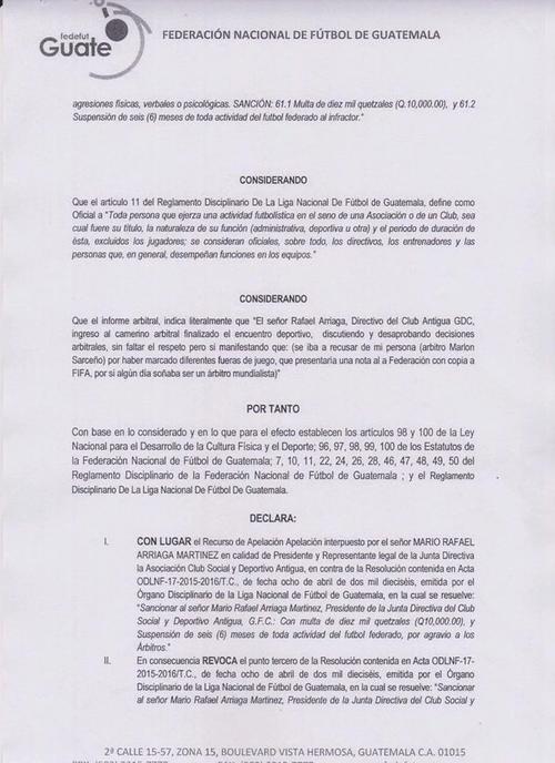 Resolución de la Fedefutbol, donde revocan sanción a Rafael Arriaga, presidente de Antigua GFC. (Foto: Fedefut)