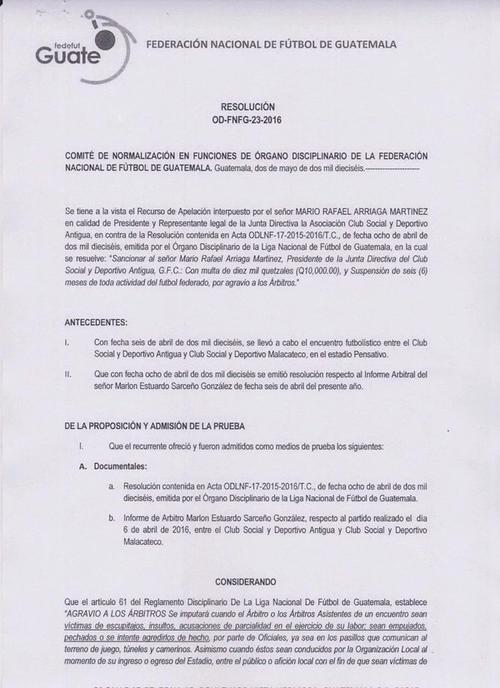 El Comité de Regularización en funciones del Órgano Disciplinario, revocó la sanción de seis meses de suspensión al presidente de Antigua GFC. (Foto: Fedefutbol)
