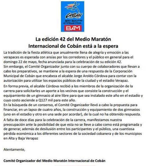 Este es el comunicado del Medio Maratón Internacional de Cobán 2016. (Foto: Medio Maratón Cobán 2016)