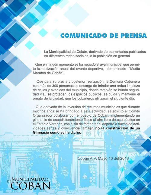 Comunicado difundido por la Municipalidad de Cobán con respecto a la polémica sobre el apoyo al Comité Organizador del Medio Maratón Internacional Cobán 2016. (Foto: Municipalidad de Cobán)