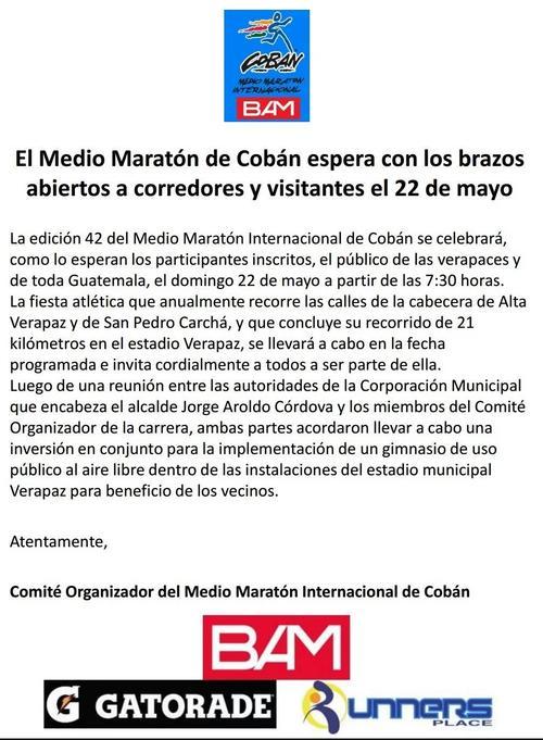 Este es el último comunicado de la organización del Medio Maratón Internacional Cobán 2016. (Foto: Medio Maratón Cobán)