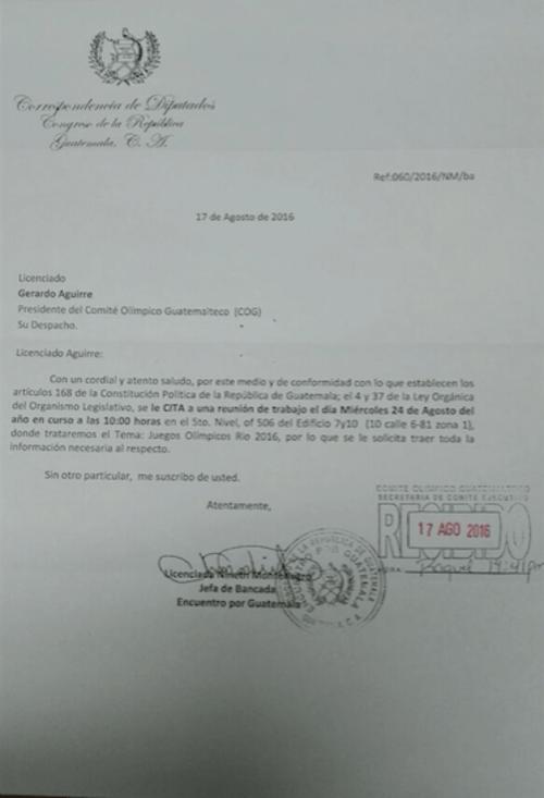 Esta es la carta enviada por Encuentro por Guatemala para citar al Presidente del Comité Olímpico Guatemalteco. (Foto: José Miguel Castañeda/Soy502)