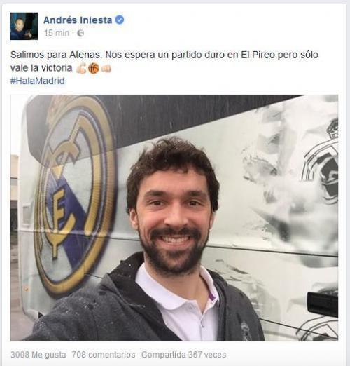 Ésta es la publicación que hizo el administrador de redes sociales de Iniesta desde el perfil de Facebook del jugador. (Foto: Marca)