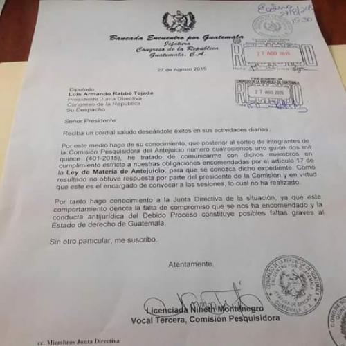 Imagen que compartió la diputada en vista de la falta de compromiso de la comisión pesquisidora. (Foto: Nineth Montenegro)