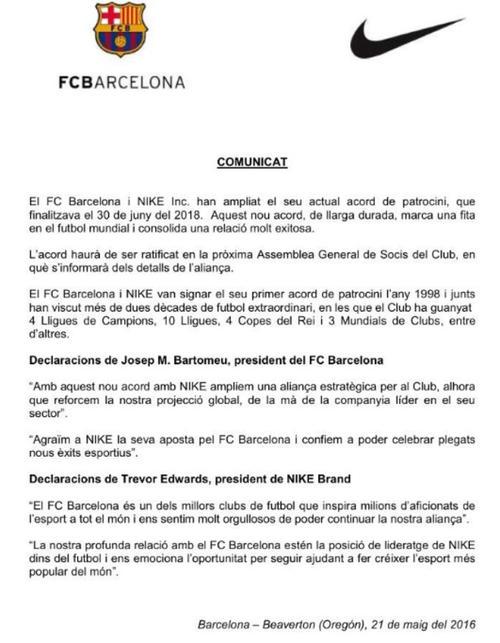 Este es el comunicado de club para anunciar el nuevo y millonario contrato firmado entre el club y la firma Nike. (Foto: FC Barcelona)