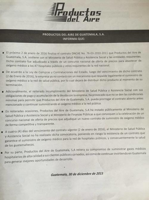 Este es el comunicado emitido por la empresa Productos del Aire donde se informa sobre la paralización del servicio.   (Foto:  Soy502)
