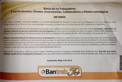 En este comunicado, Bantrab afirma que la Corte en Miami desestimó el documento.