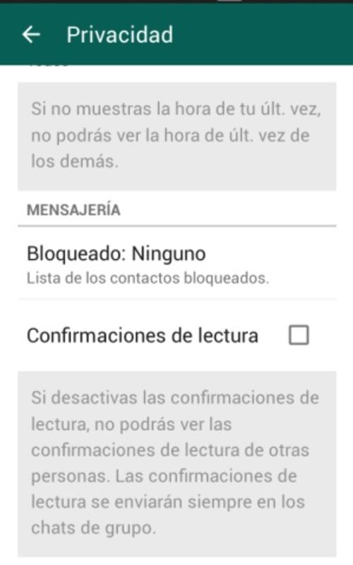 Ajustes dentro de la aplicación de Whatsapp.