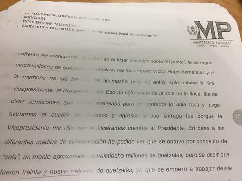 Monzón declaró que entregó 5 millones de quetzales en efectivo a Otto Pérez Molina.