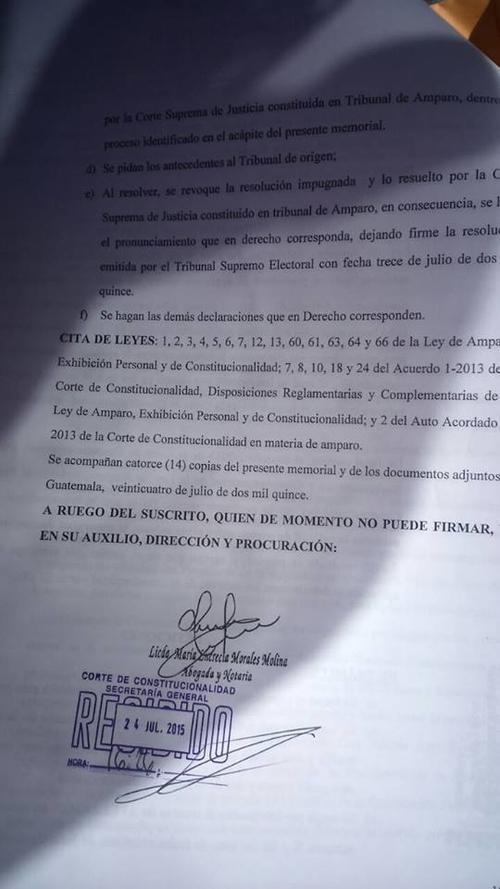 Este es una parte de la acción que presentó el TSE ante la CC para frenar la inscripción de Zury Ríos.  (Foto: Juan Manuel Vega/Soy502)