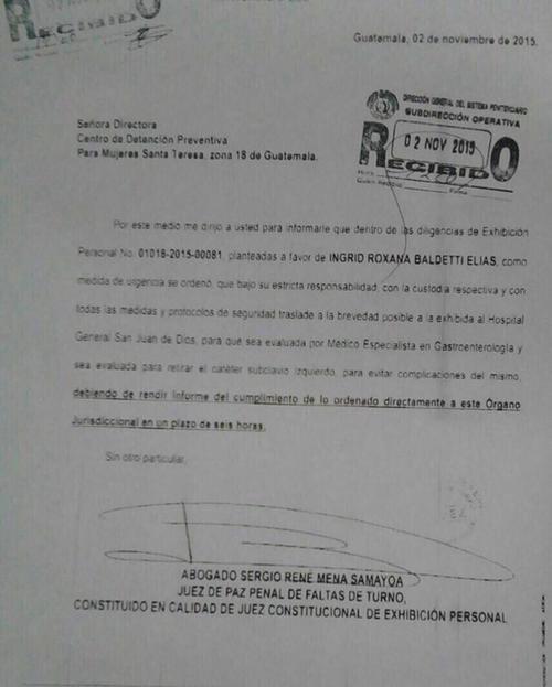 Orden judicial de traslado de Baldetti.