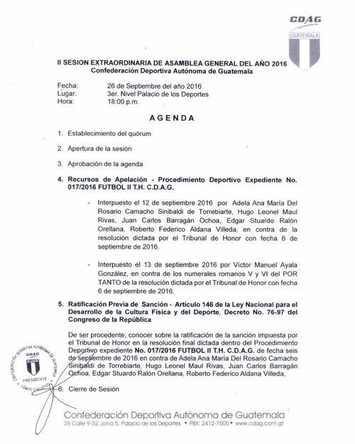 Esta es la convocatoria a asamblea de CDAG que deberá conocer la apelación plateada por la Fedefut, tras la sanción de su Comité de Regularización nombrado por FIFA.