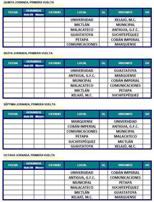 Así se disputarán de las segunda  a la octava fecha del Clausura 2016.