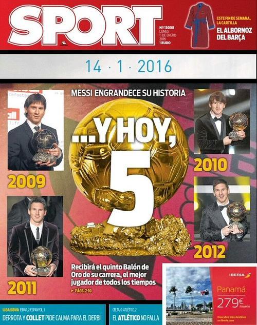 En diario Sport, de Barcelona ya lo dan como ganador a Lionel Messi.