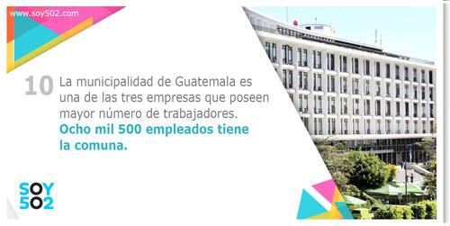 La municipalidad de Guatemala alberga a más de ocho mil trabajadores, siendo la  tercera empresa con mayor cantidad de trabajadores en la ciudad.