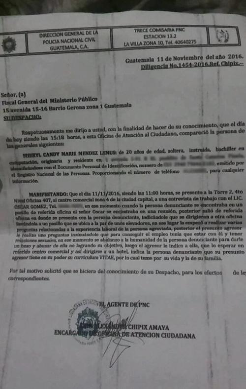 Esta es la denuncia que presentó la afectada. (Foto: Facebook)