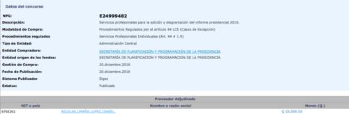 Segeplan contrató a una empresa para diagramar y editar el informe. (Foto: captura de pantalla/Guatecompras)