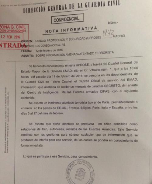 El documento de la Inteligencia Militar Española. (Foto: Elconfidencial.com)