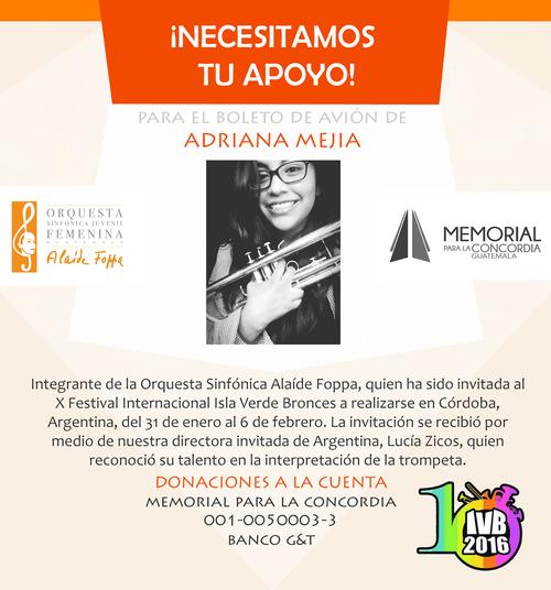 La talentosa artista espera que los guatemaltecos puedan apoyarla para viajar y representar a Guatemala en uno de los festivales más importantes del continente.