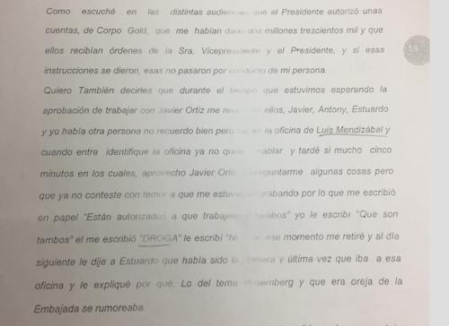 """Monzón afirmó que el Teniente Jerez le preguntó si estaban autorizados para """"trabajar con drogas""""."""