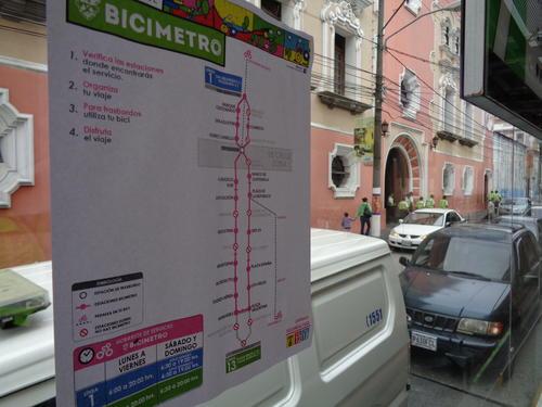 Este el mapa donde actualmente funciona el Bicimetro.  (Foto: Gustavo Méndez/Soy502)