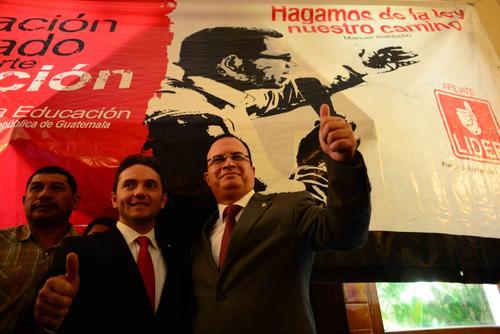 Este miércoles el partido Lider presentó al diputado de Jorge García (ex diputado de Viva)  y a Mario Méndez Montenegro (empresario) para reemplazarlo en la coordinación de las bases metropolitanas del partido. (Foto: Jesús Alfonso/Soy502)