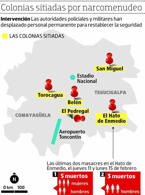 Un gráfico que muestra a las colonias tomadas en Honduras. (Imagen: elheraldo.hn)