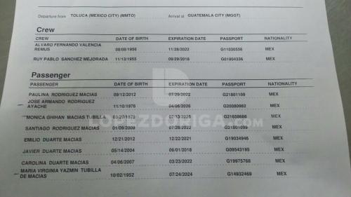 Este es el documento de vuelo de la familia Duarte. (Foto: López Doriga)