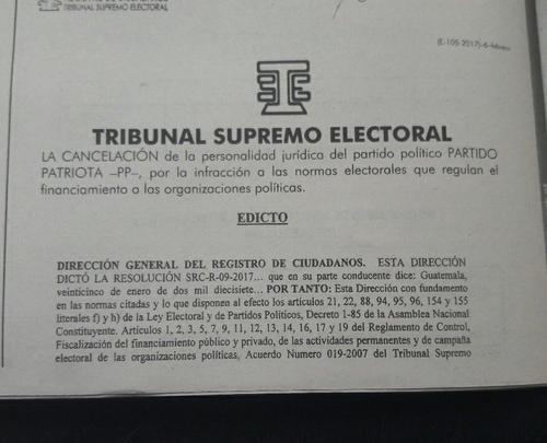 El TSE anuncia la cancelación del Partido Patriota. (Foto: Emisoras Unidas)