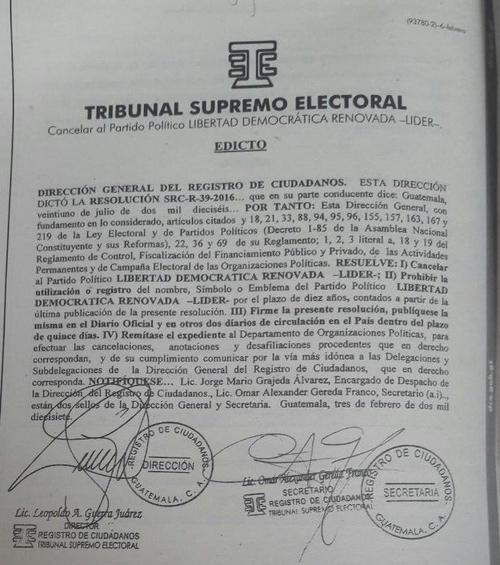 TSE anuncia cancelación del partido Libertad Democrática Renovada (Líder). (Foto: Emisoras Unidas)