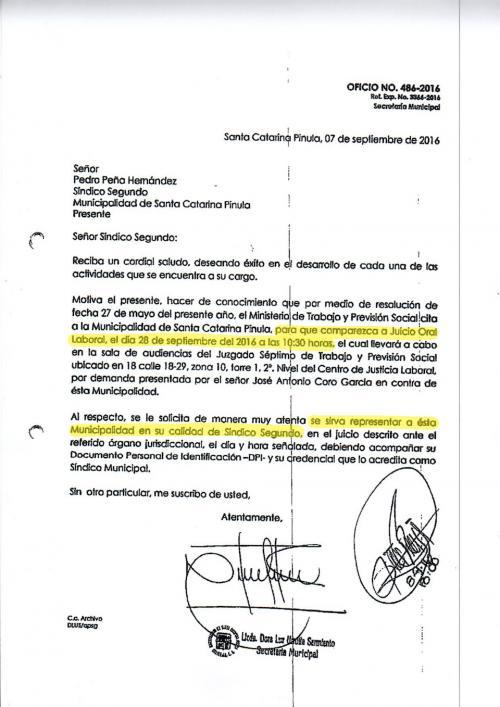 Este es el documento en donde se citó al síndico segundo al juicio oral.