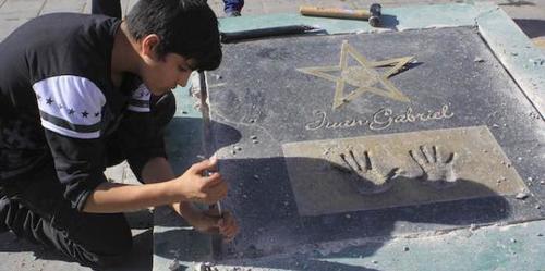 Una de las puntas de la estrella quedó levantada por lo que fue necesario retirarla para su reparación. (Foto: Bajo Palabra)