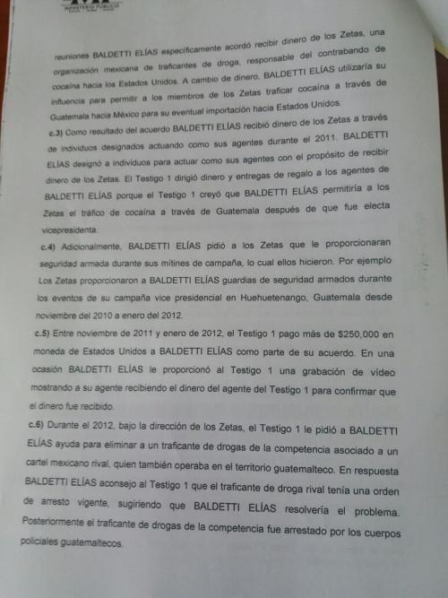 Vista de una de las páginas de la solicitud de extradición contra Roxana Baldetti. (Foto: Soy502)