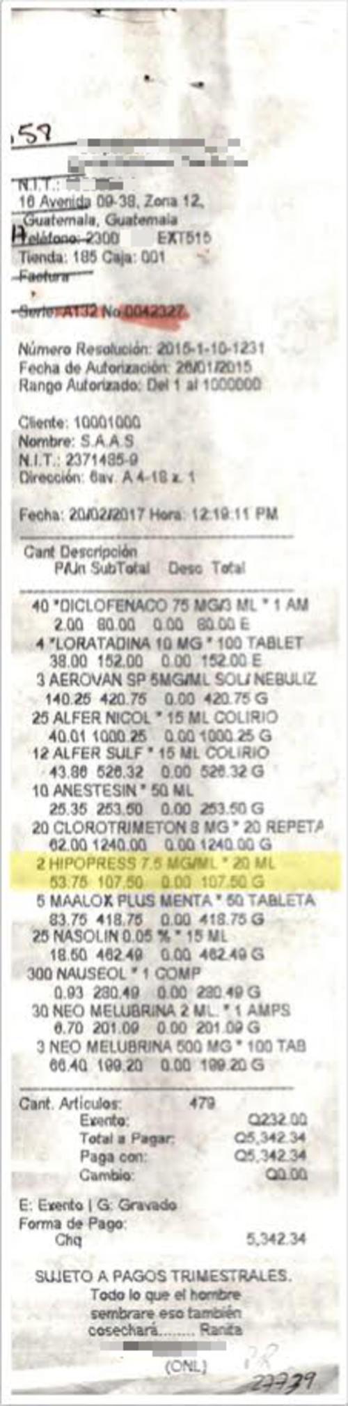 La SAAS adquirió Hipopress, un medicamento para la presión vascular. (Foto: José Miguel Castañeda/Soy502)