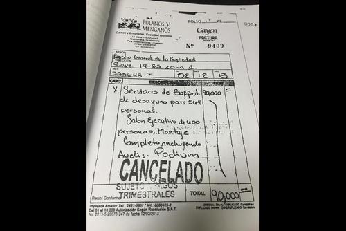 Esta es la factura que habrían facilitado el hijo y hermano del presidente al Registro de la Propiedad. (Foto: Soy502)